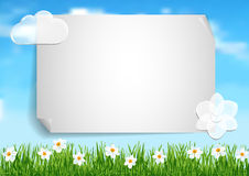Background with blue sky,  white clouds end white flowers on gree Stock Photography