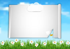Background with blue sky,  white clouds end white flowers on gree. Page 6 of 6. Mock-up for info graphic, presentation, books, documents, etc with blue sky Stock Images