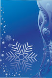 Background with a blue snowflake. Blue background with a blue snowflake and complex pattern. There is place for your text Royalty Free Stock Photography