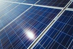 Background of Blue Solar Panels Stock Image