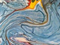 Background of blue splashes of paint. Fragment of artwork. Background of blue and yellow splashes of paint. Fragment of artwork. Texture of backdrop Stock Photo