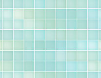 Background of blue squares in different shades. Abstract background of squares of blue and green color. Fractal-like bottom of the pool or the glass wall Stock Photo