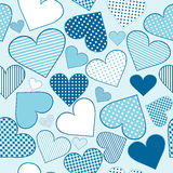 Background with blue stylized hearts Stock Photos