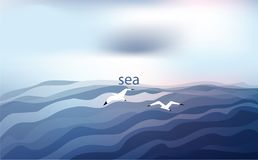 Background in blue tones with the sea and seagulls under a cloudy sky. Vector illustration. royalty free illustration