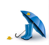 Background with blue umbrella and rain boots. Stock Images