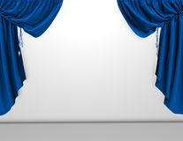 Background with blue velvet curtains and empty white wall, template Stock Photos