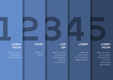 Background with 5 blue vertical stripes with numbers Stock Photos
