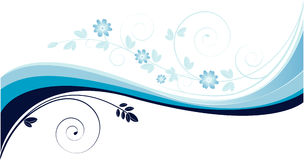 Background with blue waves and floral motives royalty free illustration