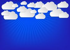 Background blue with white clouds Stock Photos