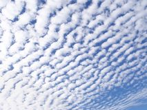 Background of cottony clouds. Background blue and white of cottony clouds royalty free stock photo