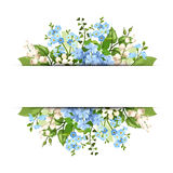 Background with blue and white flowers. Vector eps-10. Stock Photo
