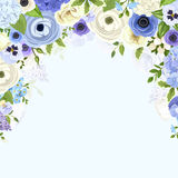 Background with blue and white flowers. Vector illustration. Stock Photo