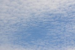 Background of blue and white sky. Southern Bohemia, Czech Republic Stock Photo