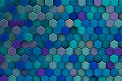 Background of bluish 3d hexagons with relief and brights. Stock Photo