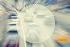Background with blur bokeh cars on city road Royalty Free Stock Photo