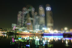 Background blur city with skyscrapers Stock Images
