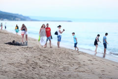 Background blur defocus beach sea people Stock Photo