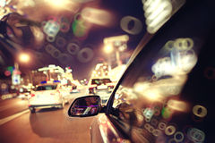 Background blur night traffic jam Royalty Free Stock Photo