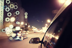 Background blur night traffic Royalty Free Stock Photos