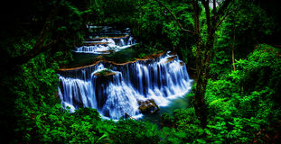 Background blur and soft focus Huay Mae Kamin waterfall in Thailand waterfall is beautiful, do not lose any. stock photos