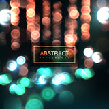 Background of blurry defocused bokeh lights. Vector abstract background of blurry defocused bokeh lights. Vector festive illustration. Nightlife scene Stock Image