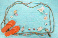 Background, board, turquoise, chic, shells, cord, dark, decor, d Stock Photo