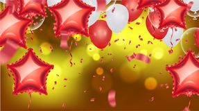 Background with bokeh effect and Vector party balloons illustrat. Ion. Confetti and ribbons flag ribbons, Celebration Stock Image