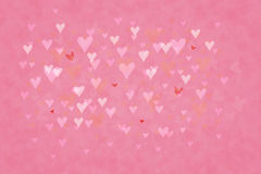 Background bokeh hearts. Cute pink background with little hearts Royalty Free Stock Image