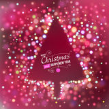 Background with bokeh lights and designed text. Red Christmas background with bokeh lights and designed text. Christmas tree silhouette. Vector illustration Royalty Free Stock Image