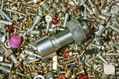 Background from bolts, nuts, screws Royalty Free Stock Photo