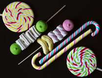 Background with bonbons and lolipops Royalty Free Stock Photography