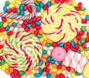 Background with bonbons and lolipops Royalty Free Stock Images