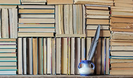 Background from books. Books close up. Books on the shelf Stock Photography