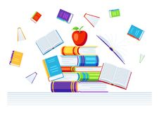 Background with books. Education or bookstore illustration in flat design style Stock Photography