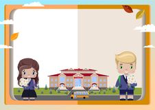 Background of books, girl and boy schoolboys with a bouquet, school, school bus, autumn leaves royalty free illustration