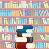 Bookshelves with books. Background from bookshelves with books stock illustration