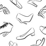 Background from boots and shoes Stock Images