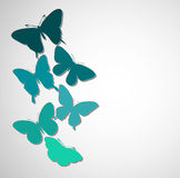 Background with a border of butterflies flying. Royalty Free Stock Photography