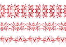 Background and border element. Three Red color floral borders Royalty Free Stock Photography