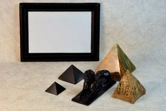 Background border frame black, Sphinx and pyramid. stock photography