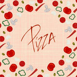 Background border frame with various pizza ingredients Stock Photography