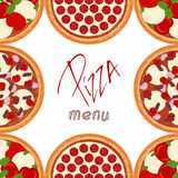Background border frame with various pizza ingredients Stock Images