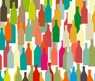 Background with bottles COLORS. Background with bottles ,seamless pattern with wine bottles and glasses ,set of colorful bottle on background Stock Images