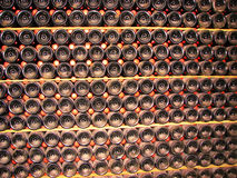 Background from bottles with old wine Stock Images