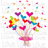 Background with a bouquet of hearts Royalty Free Stock Photography