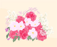 Background bouquet of roses and orchid. Vector illustration eps 8  without gradients Royalty Free Stock Images