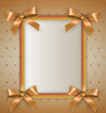Background with bow cream frame Stock Images