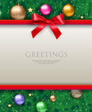 Background with bow and tree. White text place with red ribbons and bow at background with christmas tree with color glass balls, chains and gold stars. template vector illustration