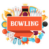 Background with bowling items. Image for advertising booklets, banners and flayers Stock Photo