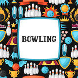 Background with bowling items. Image for advertising booklets, banners and flayers Stock Images